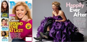 Singer Kelly Clarkson rocked a purple Winnie Couture gown in the cover story of People Magazine.