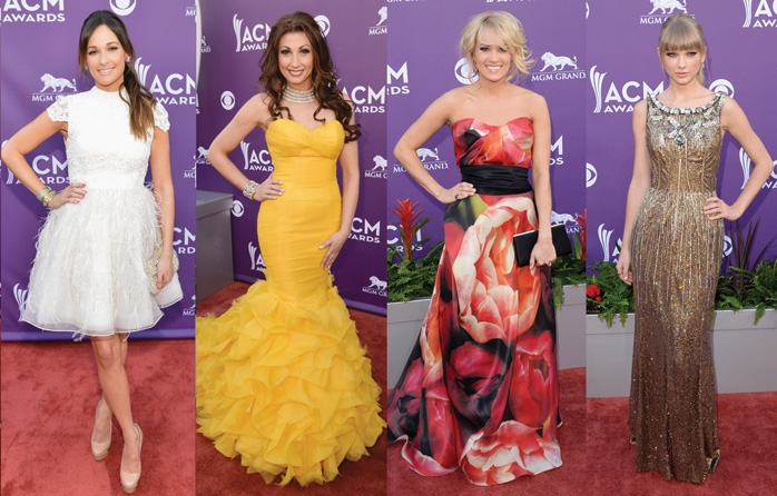 Country singer Danielle Peck attended The ACM Music Award in a golden yellow Winnie Couture gown.