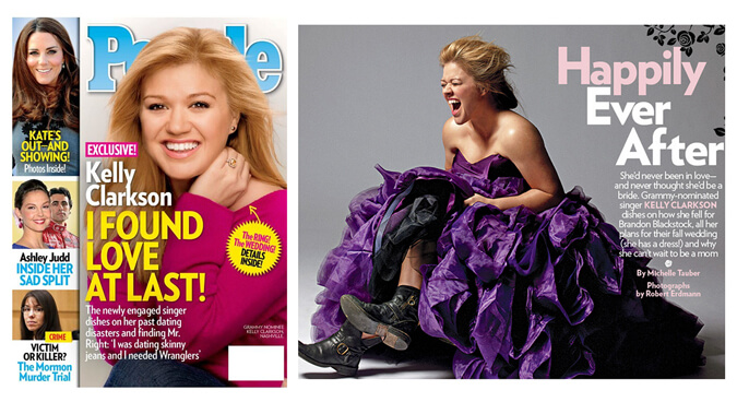 PEOPLE magazine featured singer Kelly Clarkson in WINNIE COUTURE style Pierretta.